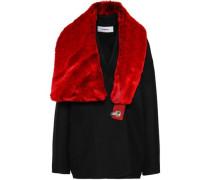 Faux Fur-paneled Wool-blend Coat Black