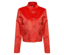 Cropped Coated Cotton-blend Corduroy Jacket Tomato Red