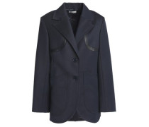 Leather-trimmed Wool-twill Blazer Navy
