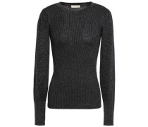 Metallic Ribbed-knit Sweater Charcoal