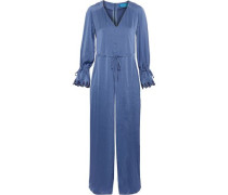 Moon All In One Embroidered Washed-satin Jumpsuit Azure