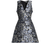 Flared Brocade Mini Dress Blue