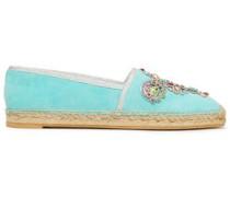 Embellished Appliquéd Suede Espadrilles Turquoise
