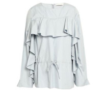 Ruffled cotton-poplin blouse