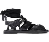 Lace-up textured patent-leather sandals