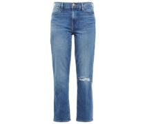 Distressed Faded High-rise Straight-leg Jeans Mid Denim  3