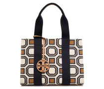 Leather-trimmed Printed Canvas Tote Ivory Size --