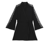 Lace-trimmed jersey robe