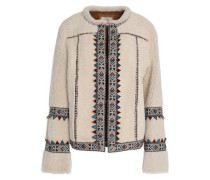 Embroidered shearling jacket