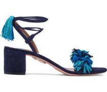 Woman Wild Thing Fringed Suede Sandals Navy