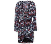 Wrap-effect Printed Cady Mini Dress Multicolor