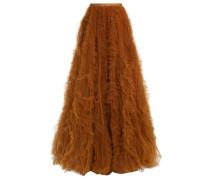 Bow-detailed ruffled tulle maxi skirt