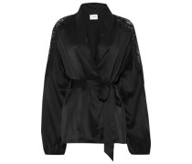 The Kimberly Lace-trimmed Silk-charmeuse Jacket Black