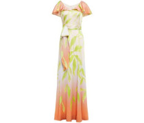 Layered Belted Printed Hammered Silk-blend Satin Gown Pastel Pink