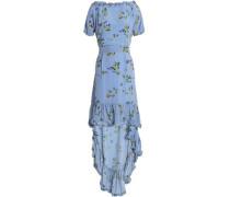 Alvild ruffled-trimmed printed satin-crepe dress