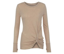Twist-front cotton and cashmere-blend top