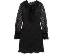 Velvet-trimmed ruffled corded lace mini dress