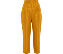 Cropped Cotton And Silk-blend Taffeta Tapered Pants Saffron