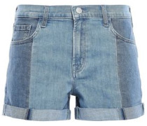 Two-tone Denim Shorts Light Denim  3