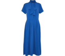 Pussy-bow pleated crepe de chine dress