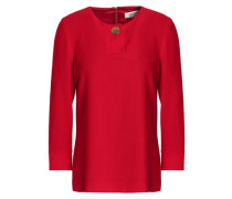 Button-detailed Wool Top Crimson Size 14