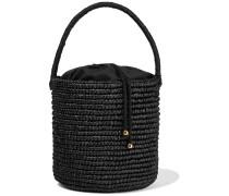 Woman Woven Toquilla Straw Bucket Bag Black