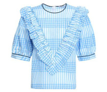 Charron Ruffled Checked Cotton-blend Seersucker Top Light Blue