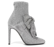 Natalie bow-embellished glittered stretch-knit sock boots