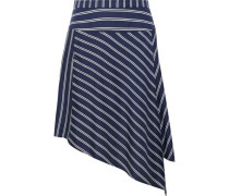 Asymmetric Striped Silk-satin Twill Mini Skirt Navy