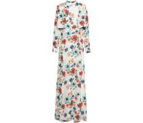 Layered Floral-print Silk Gown White