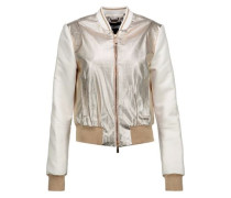 Metallic faux textured-leather and satin bomber jacket