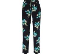 Woman Floral-print Silk Crepe De Chine Straight-leg Pants Black