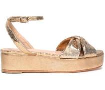 Twist-front Metallic Leather Platform Sandals Gold