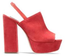Woman Logan Suede Platform Slingback Sandals Tomato Red