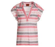 Crochet-knit polo shirt