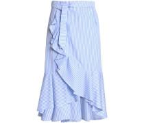 Ruffled striped cotton-poplin skirt