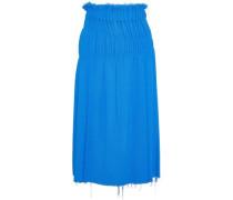 Shirred Bouclé Midi Skirt Bright Blue