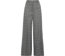 Hayden Prince Of Wales Checked Wool Wide-leg Pants Gray