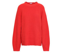 Cutout Ribbed Cotton-blend Sweater Tomato Red