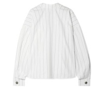 Reversible Oversized Pinstriped Cotton-poplin Shirt White