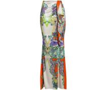 Draped Printed Silk-blend Satin Maxi Skirt Multicolor