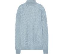 Open-knit Mohair And Silk-blend Turtleneck Sweater Light Blue