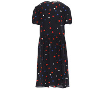 Woman Dots All Over Amber Polka-dot Crepe De Chine Midi Dress Black