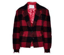 Checked Wool-blend And Faux Leather Jacket Red
