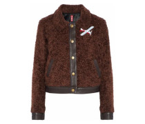 Felix leather-trimmed appliquéd faux shearling jacket
