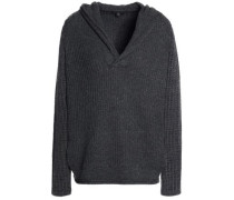 Mélange Cashmere Hooded Sweater Dark Gray Size 1