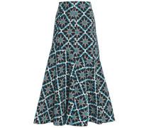Printed jacquard midi skirt