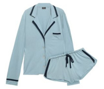 Pima Cotton And Modal-blend Jersey Pajama Set Light Blue