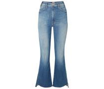 Frayed Faded High-rise Kick-flare Jeans Mid Denim  4