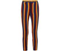 Woman Cropped Striped Cotton And Wool-blend Jacquard Slim-leg Pants Navy